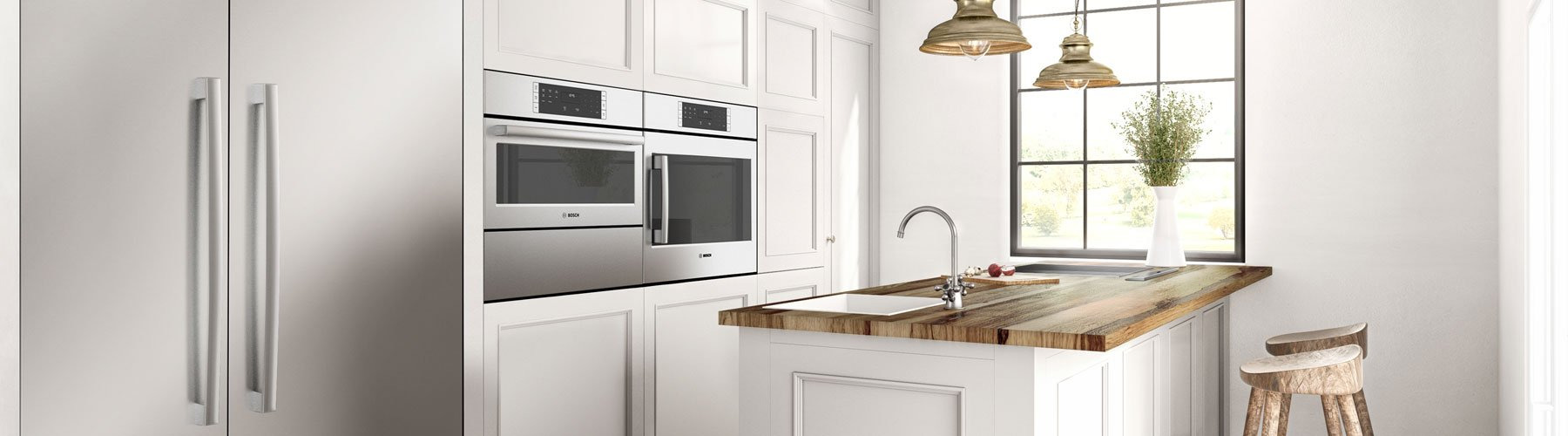 Bosch Benchmark Lifestyle Kitchen Refrigerator and wall Oven