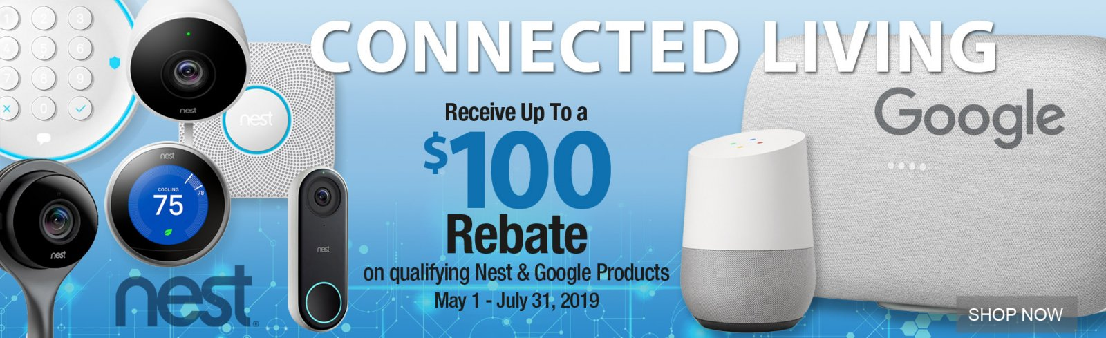 Nest Google Connected living $100 rebate